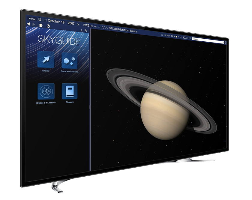 Apple iMac running Starry Night Elementary School software showing a planet Saturn simulation