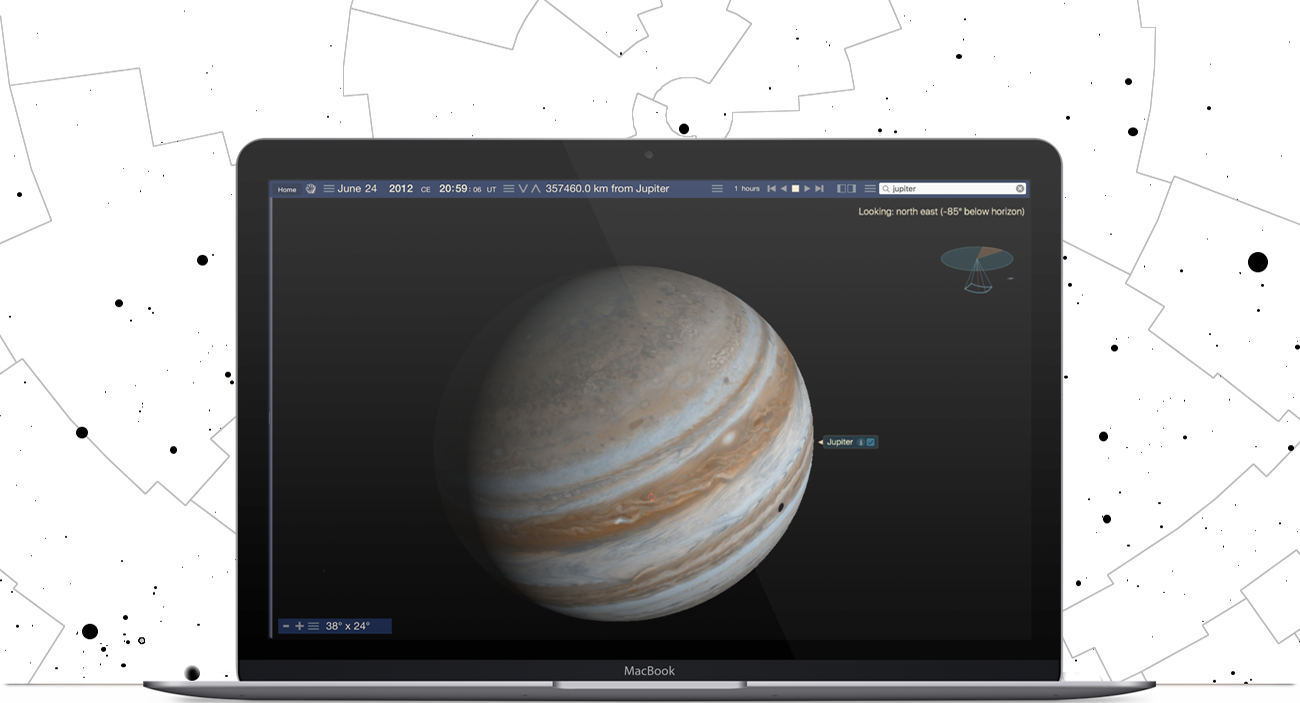 Apple Macbook running Starry Night Elementary School software showing the planet of Jupiter