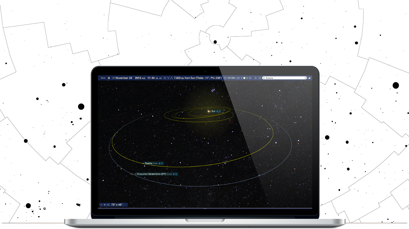 Apple Macbook running Starry Night Middle School software showing the Rosetta space mission simulation