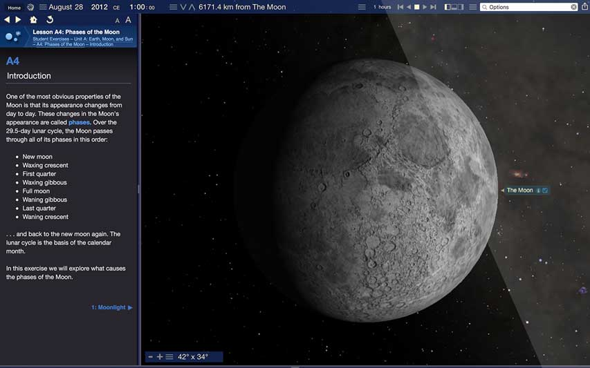 Starry Night Middle School Moon Phases Simulation Screenshot
