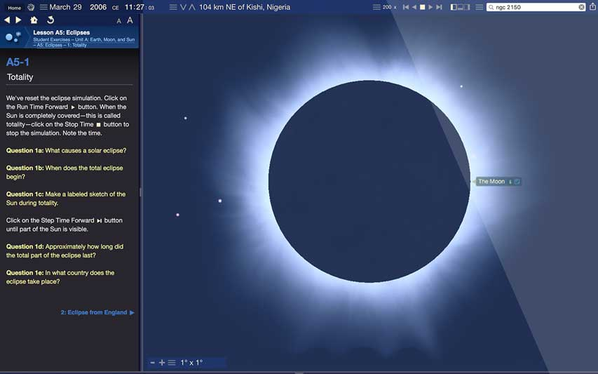 Starry Night Middle School Total Eclipse Simulation Screenshot